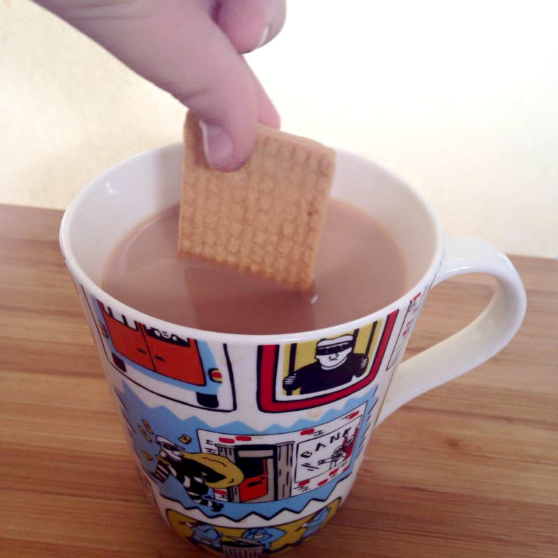 dunking biscuit in tea