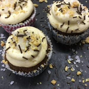 Cola cupcakes with Salted Peanut Frosting